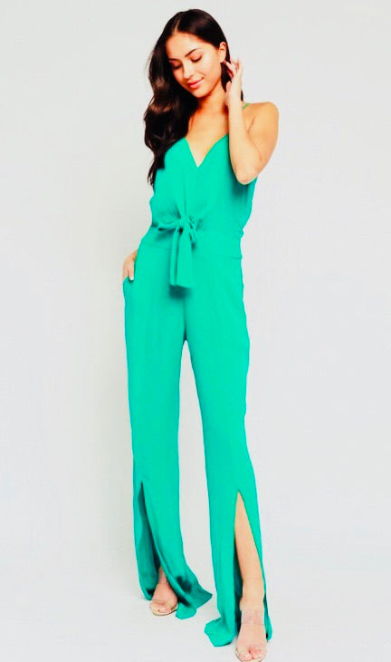 Camille Tropical Green Jumpsuit with Tie