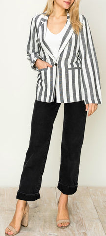 """Jules"" Black and White Striped Blazer"