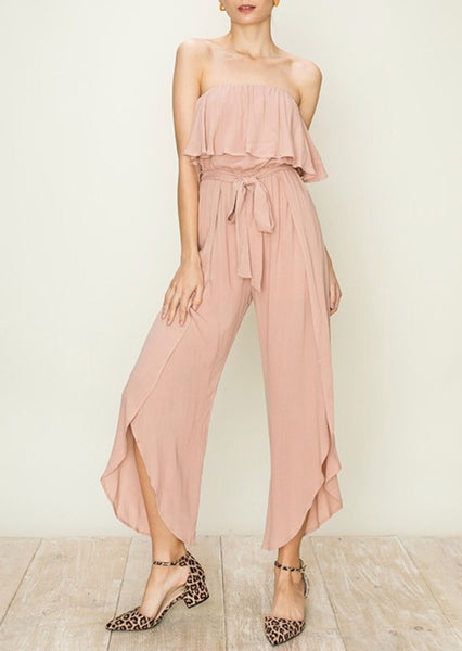"""Stella"" Blush Off The Shoulder Tulip Leg Jumpsuit"