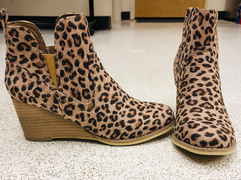 Neutral Leopard Wedge Bootie