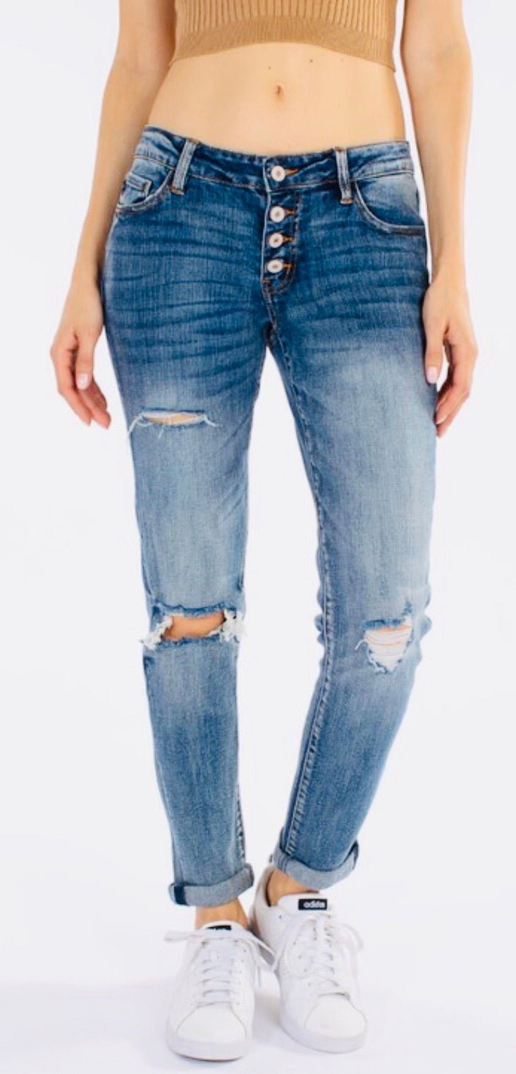 """The Wild One"" Medium Distressed Button Jeans"
