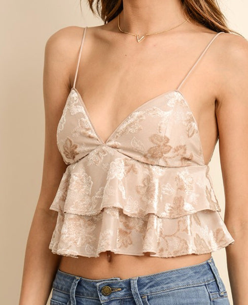 Taupe Double Flare Cropped Cami with Velvet and Adjustable Straps
