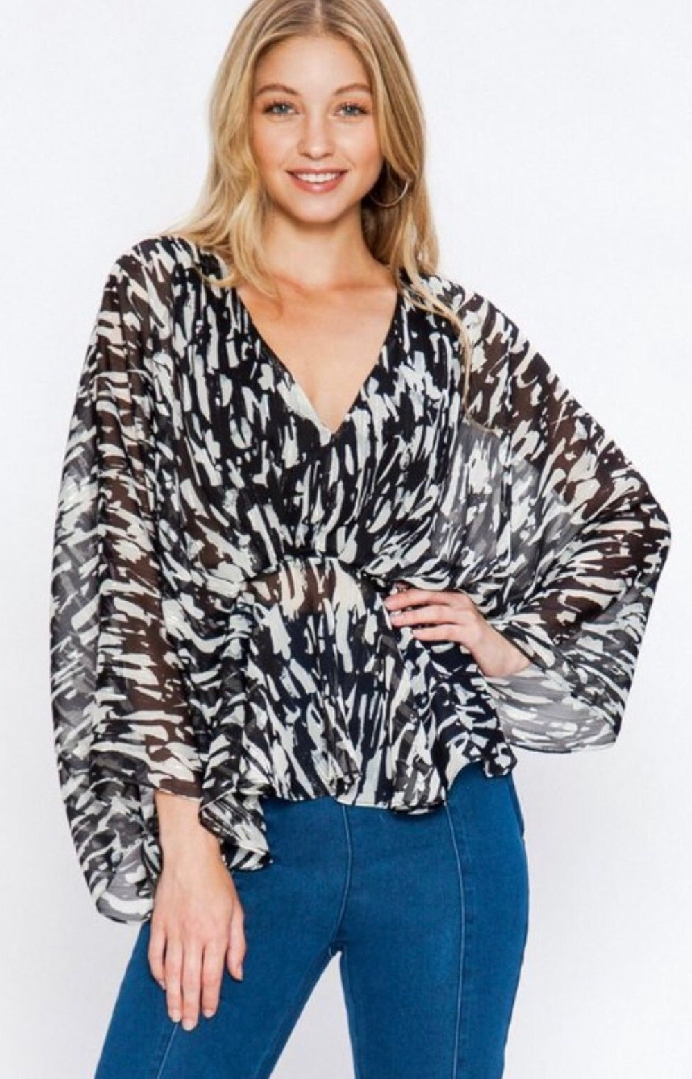Black, White and hint of Metallic Silver Bell Sleeve Top