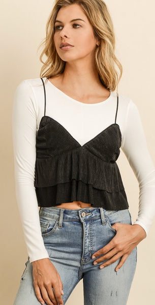 Black Double Flare Cropped Cami