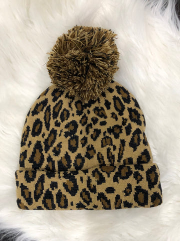 Khaki Leopard Stocking Hat