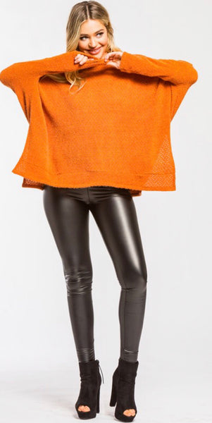 Burnt Orange Brushed Knit Oversized Sweater