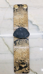 Snake Leather Bracelet with Druzy Stone