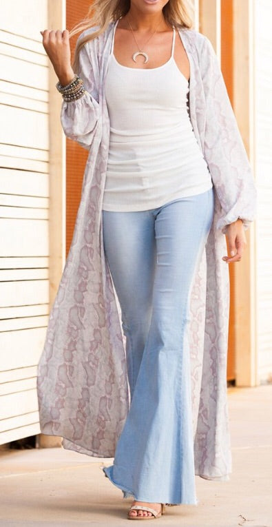 Blush and Grey Snake Duster