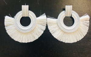 White Fringe Fan Earrings