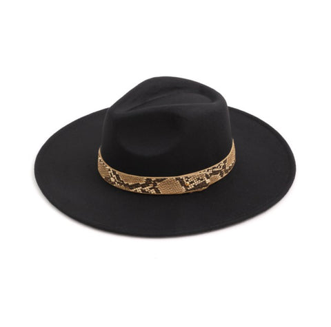 Black Snake Wide Brim Panama Hat