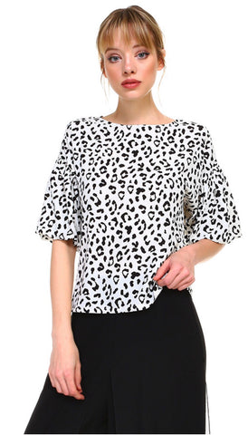 Black and White Leopard Balloon Sleeve Top
