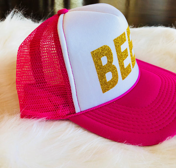 """BEER"" Trucker Hat In Hot Pink and White with Gold Glitter Lettering"