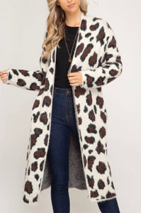 White Leopard Fuzzy Sweater