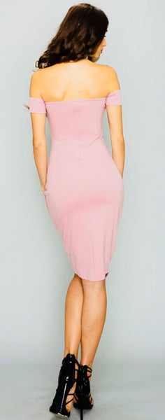 Blush Cap Sleeve Asymmetrical Dress