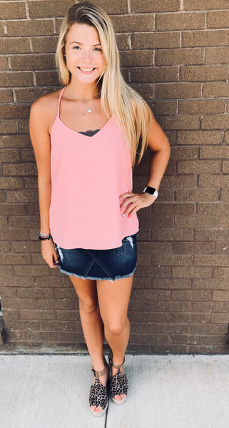 """Jules"" Blush Solid Twist Tank"