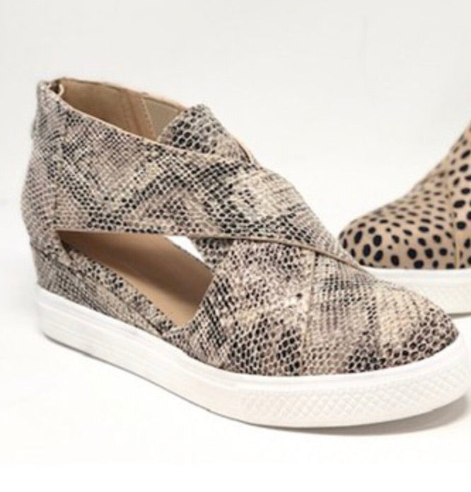 Snake Wedge Cutout Sneaker