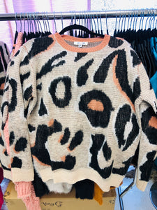 Neutral Leopard Sweater with Coral Ringer Neck