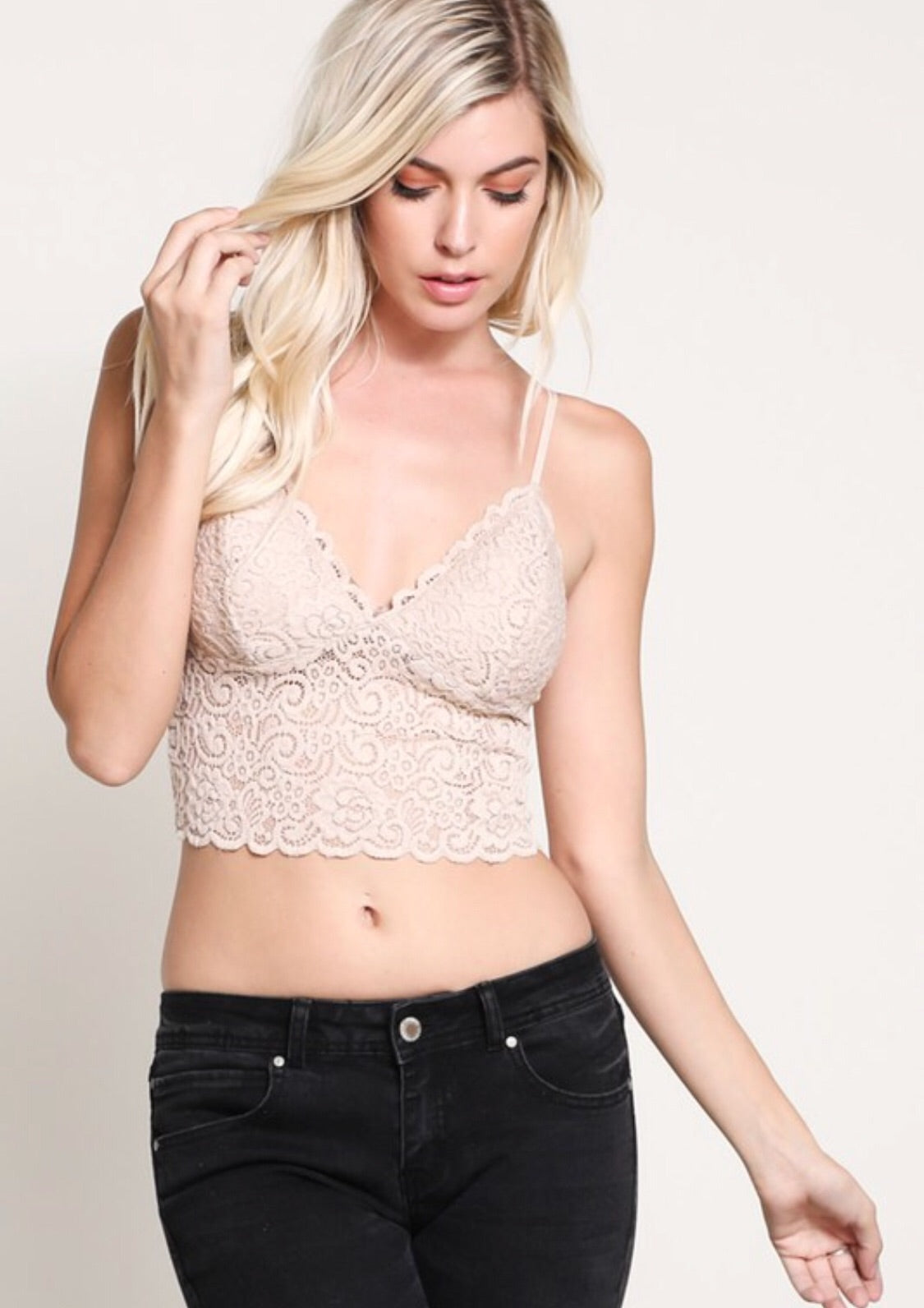 Nude Lace Padded Bralette with Adjustable Straps