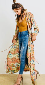 Coral Floral Satin Duster With Bubble Sleeves