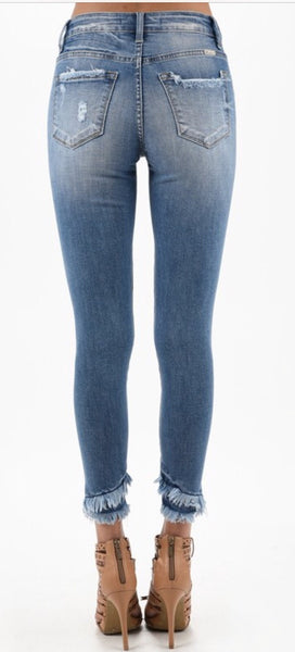 """Boho Fringe"" Distressed Ankle Jeans"