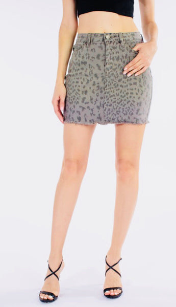 Grey Leopard Denim Skirt
