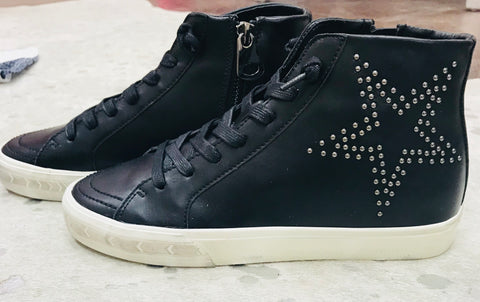 """Balthazstar"" Black Leather Embellished Star High Top"