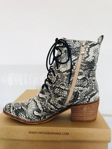 Snake Lace Pointed Toe Bootie