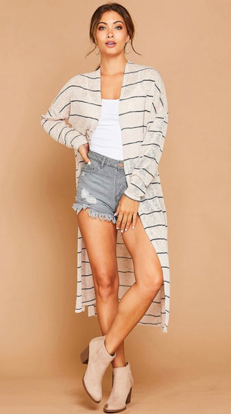 Oatmeal Striped Cardigan Duster