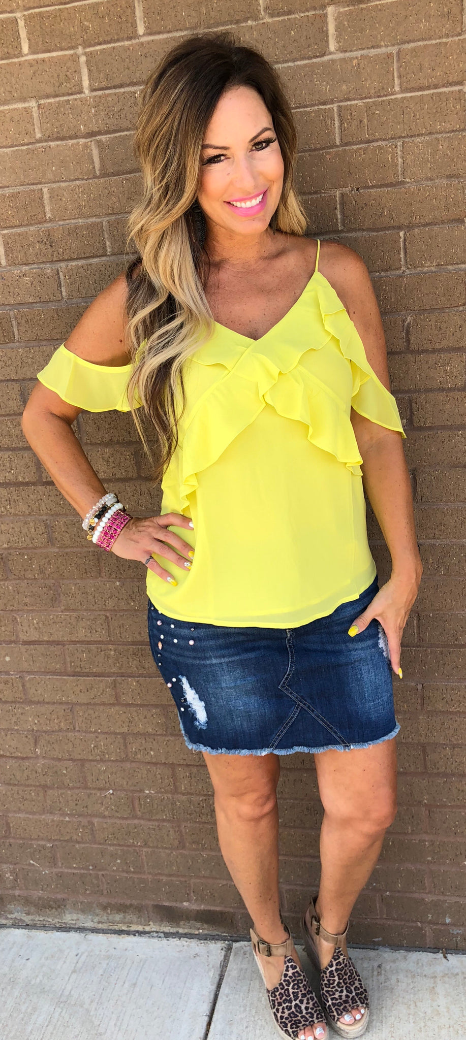 Yellow Cold Shoulder Ruffle Top