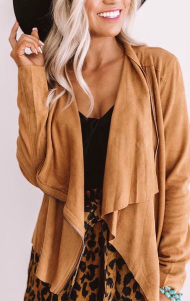 """Caitlyn"" Camel Drape Suede Jacket"