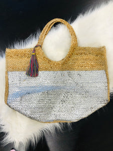 Silver Jute Beach/Carry All Bag