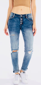 """Bella"" Distressed Girlfriend Jeans"