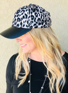 Snow Leopard Hat with Leather Bill