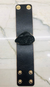 Black Leather Bracelet with Druzy Stone