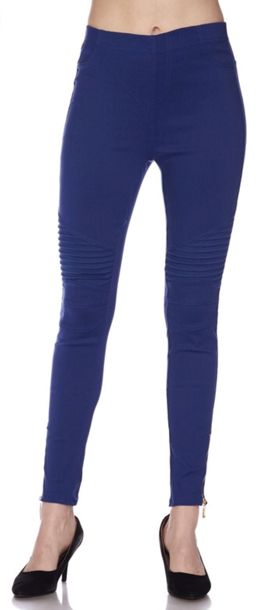 Royal Blue Glam Moto Leggings with Zipper