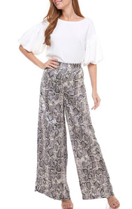 Grey Snake Wide Leg Pants