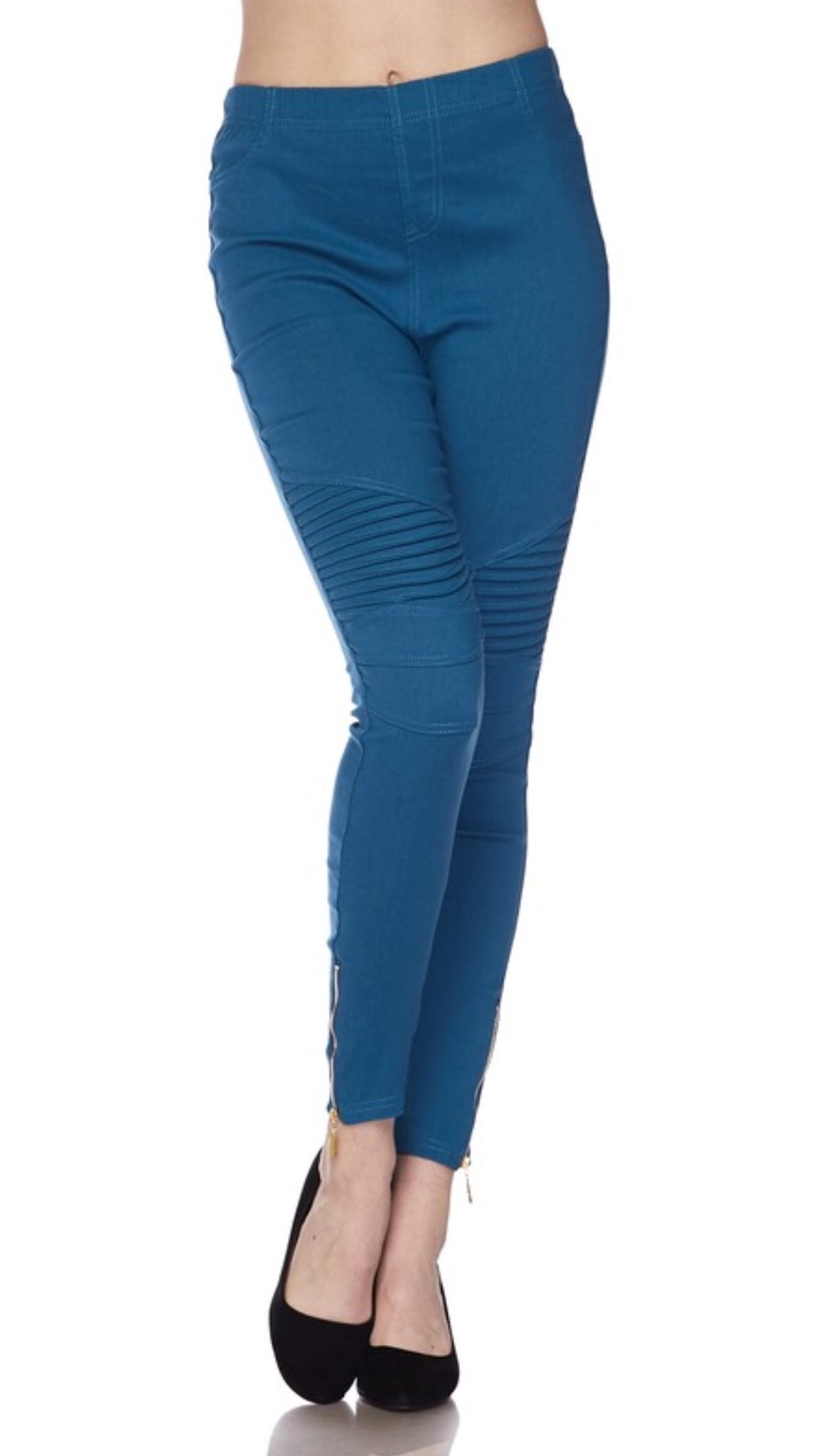 Teal Glam Moto Leggings with Zipper