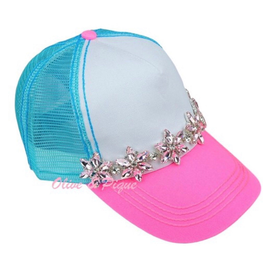 Pink and Turquoise Trucker Hat with Rhinestones