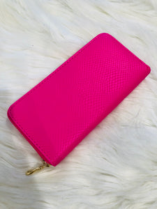 Hot Pink Snake Wallet with Gold Zipper