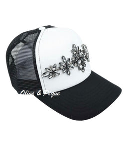 Black and White Trucker Hat with Rhinestones