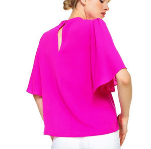 Hot Pink Flutter Sleeve Top