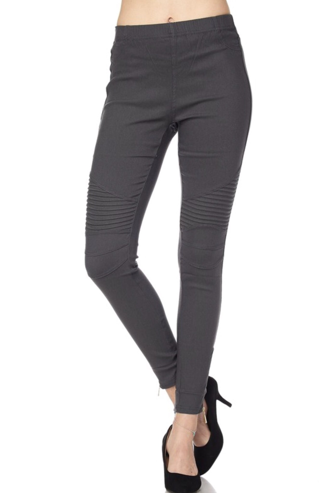 Charcoal Glam Moto Leggings with Zipper