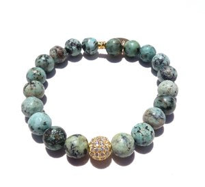 Beth Gold Bracelet - African Turquoise / Standard size /