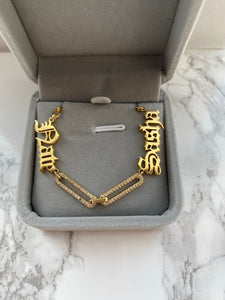 Double Name Pave Necklace
