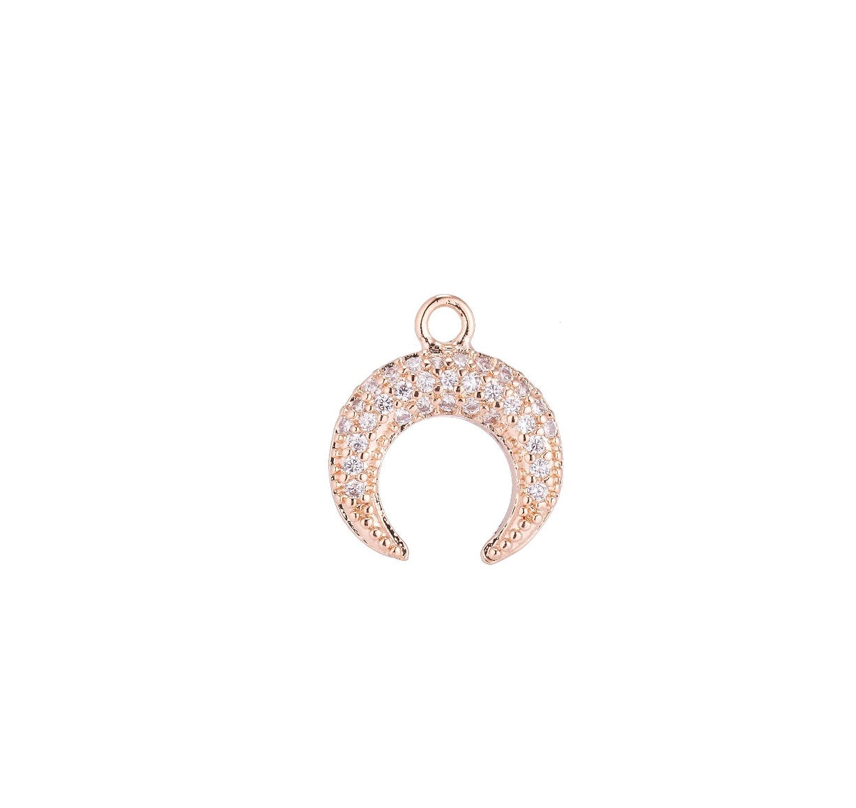 Rose Gold Pave Crescent Charm