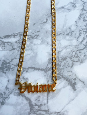 Old English Name Necklace - Rania Dabagh Jewelry