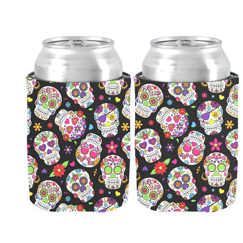 Stylish Colorful Sugar Skulls Can Cooler