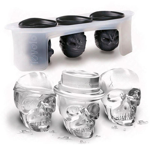 One set Skull head shaped silicone ice mold