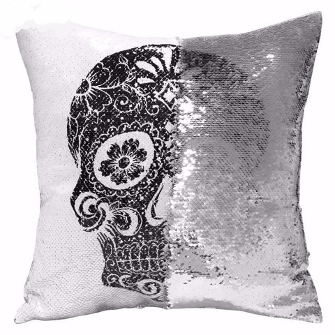 Skull Head Printed Reversible Case Cushion Cover 40x40