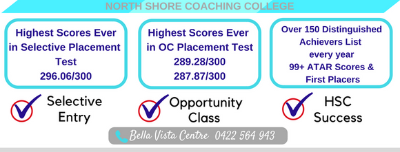 North Shore Coaching Bella Vista Selective OC Tests preparation